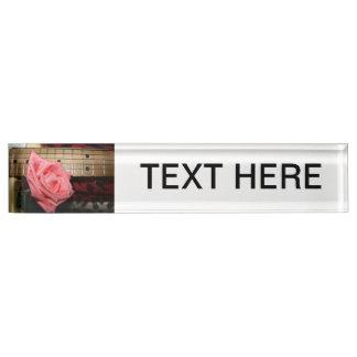pink rose electric guitar fretboard neck music desk nameplate