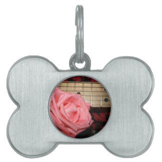 pink rose electric guitar fretboard neck music pet name tag