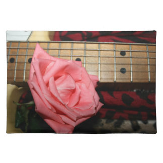 pink rose electric guitar fretboard neck music placemat