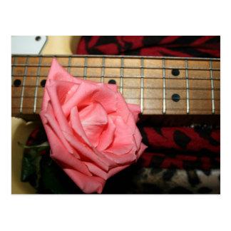 pink rose electric guitar fretboard neck music postcard