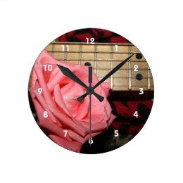 pink rose electric guitar fretboard neck music round clock