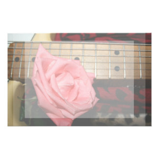 pink rose electric guitar fretboard neck music stationery
