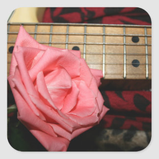 pink rose electric guitar fretboard neck music square stickers