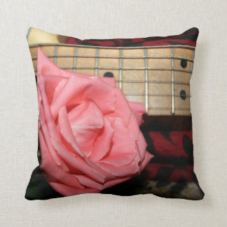 pink rose electric guitar fretboard neck music throw pillow