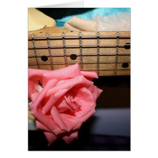 pink rose electric guitar neck fretboard musical card