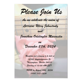 pink rose electric guitar neck fretboard musical custom announcement cards