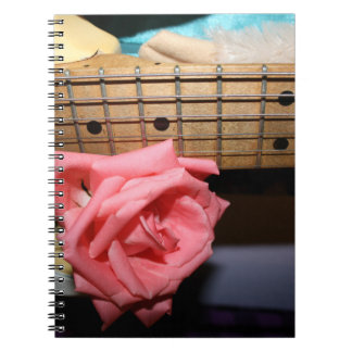 pink rose electric guitar neck fretboard musical notebook