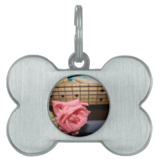 pink rose electric guitar neck fretboard musical pet name tags
