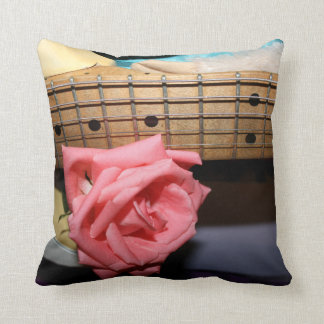 pink rose electric guitar neck fretboard musical throw pillow