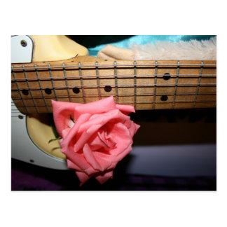 pink rose electric guitar neck fretboard musical postcard