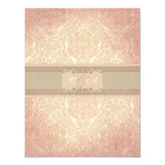 Pink rose elegant reception card