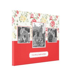 Pink Rose Elegant Wallpaper | Family Photos & Text Canvas Print