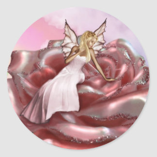 Pink Rose Faery (Stickers) Classic Round Sticker