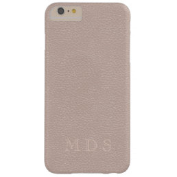 Pink Rose Faux Leather Effect Custom Initials Barely There iPhone 6 Plus Case