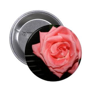 pink rose five string bass strings dark back music 2 inch round button