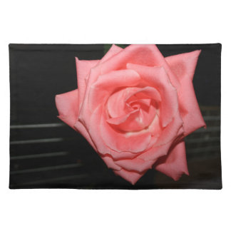 pink rose five string bass strings dark back music cloth placemat