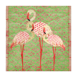 Pink Rose Flamingos Art Canvas