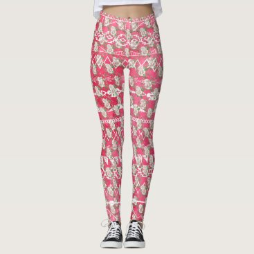 Aztec Themed Pink Rose Floral Aztec Pattern Leggings