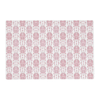 Pink Rose Floral Damask Style Pattern Placemat