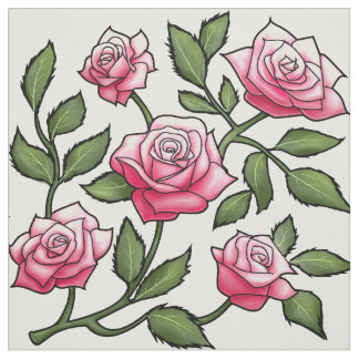 Pink Rose Floral Fabric