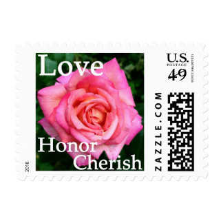 Pink Rose Floral Love Honor Cherish Postage Stamps