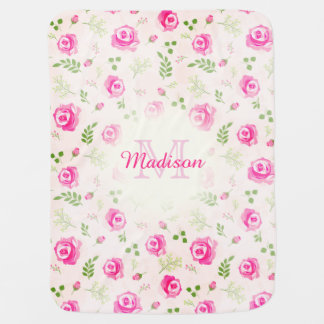 Pink Rose Floral Monogram Pastel Baby Girl blanket