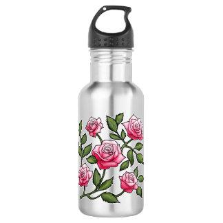 Pink Rose Floral 18oz Water Bottle