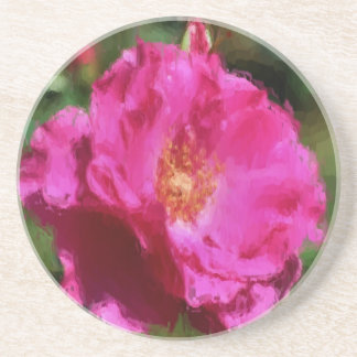 Pink Rose Floral Photo Painting Coaster