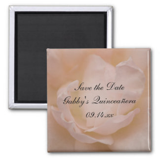 Pink Rose Floral Quinceañera Save the Date Magnet