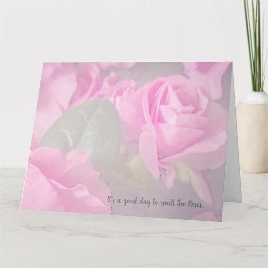 Pink Rose Floral Uplifting Stress-free Card