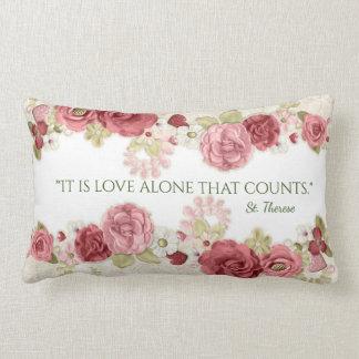 Pink Rose Floral Vintage Name Text Personalize Lumbar Pillow