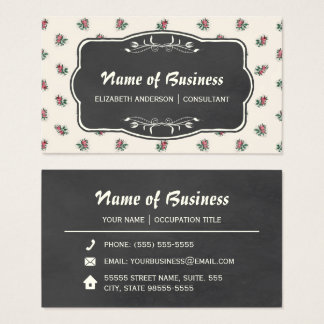 Pink Rose Floral Vintage Wallpaper and Chalkboard Business Card