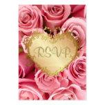 Pink Rose Floral Wedding RSVP Large Business Cards (Pack Of 100)