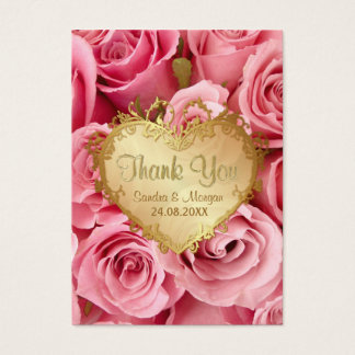 Pink Rose Floral Wedding Thank You Business Card