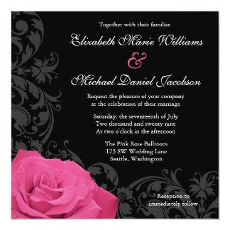 Pink Rose Flourish Wedding 5.25x5.25 Square Paper Invitation Card