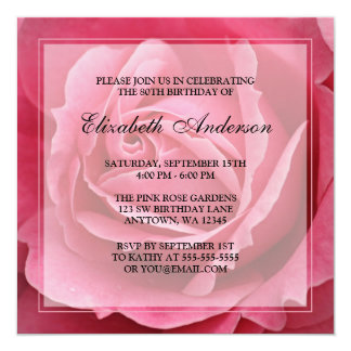 Pink Rose Flower 80th Birthday Party Card