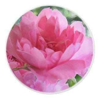 Pink Rose Flower Abstract Ceramic Knob