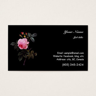 pink rose flower and buds business card