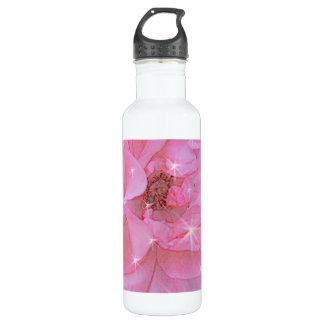 pink rose flower and sparkling stars 24oz water bottle