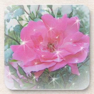 Pink rose flower and stars beverage coaster