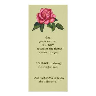 Pink Rose, Flower: ART: SERENITY PRAYER Rack Card