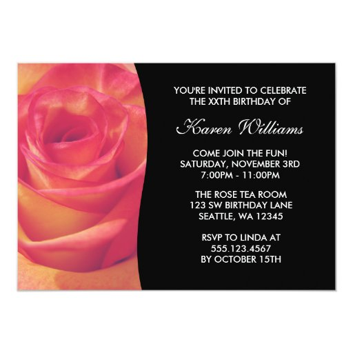 Pink Rose Flower Birthday Party 5x7 Paper Invitation Card