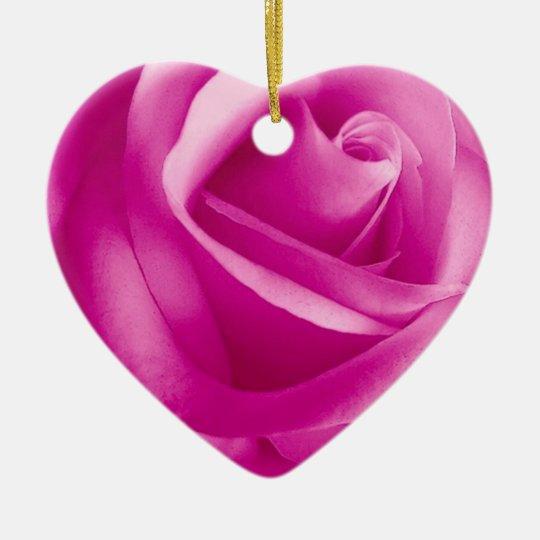 PINK Rose Flower Ceramic Ornament