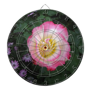 Pink Rose Flower Dartboard With Darts