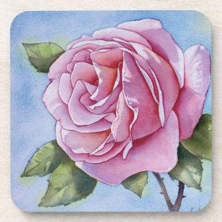 Pink rose flower drink coaster