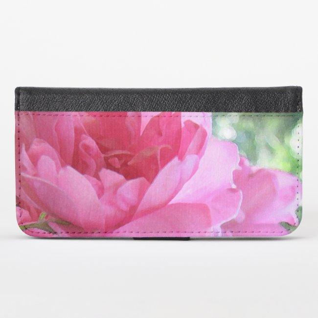 Pink Rose Flower Floral iPhone X Wallet Case