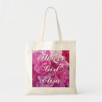 Pink rose flower girl tote bag | Personalized name