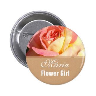 Pink rose flower girl  wedding name button. button