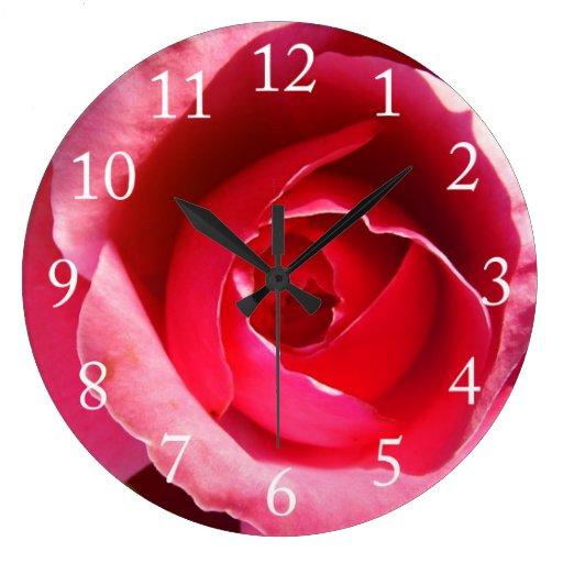 Pink  rose flower large clock