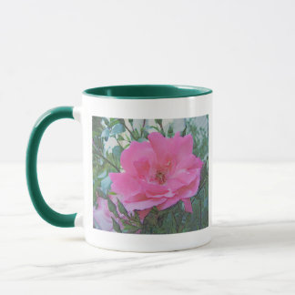 pink rose flower mug